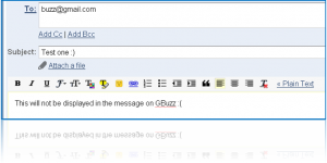 Screenshot of message sent to Buzz via Gmail