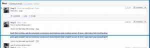 Screenshot of an update done via Gmail