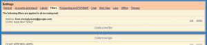 Screenshot of a Gmail filter for Buzz