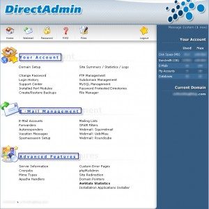 Direct Admin Control Panel Home Menu (screenshot)