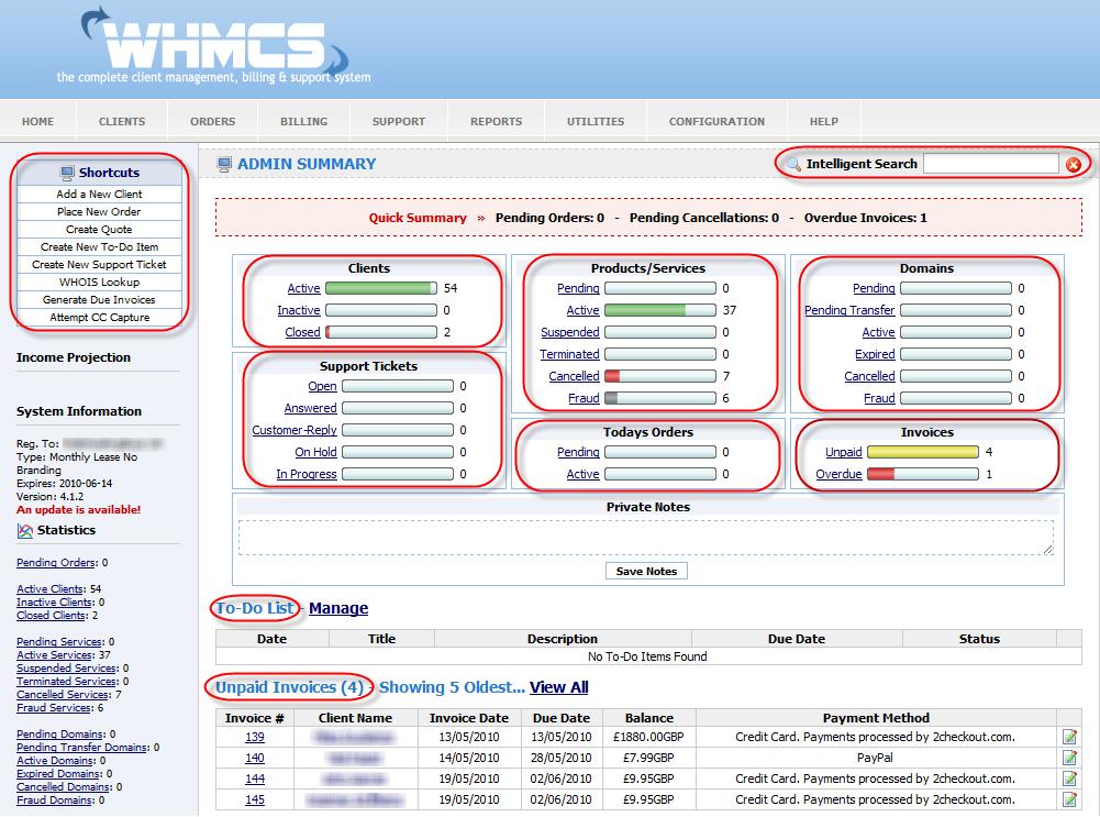 WHMCS Dashboard