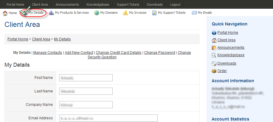 Client Details Update in WHMCS