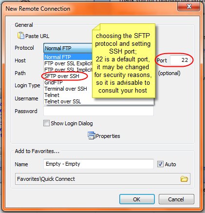 Establishing SFTP Connection via SmartFTP