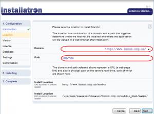 Installatron: Choosing Installation Directory