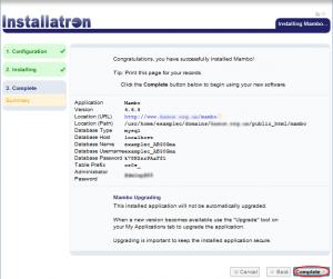 Installatron Installation Summary