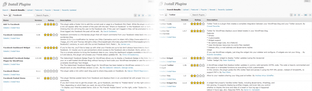 Facebook & Twitter WP Plugin Search