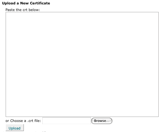 Upload a new Certificate