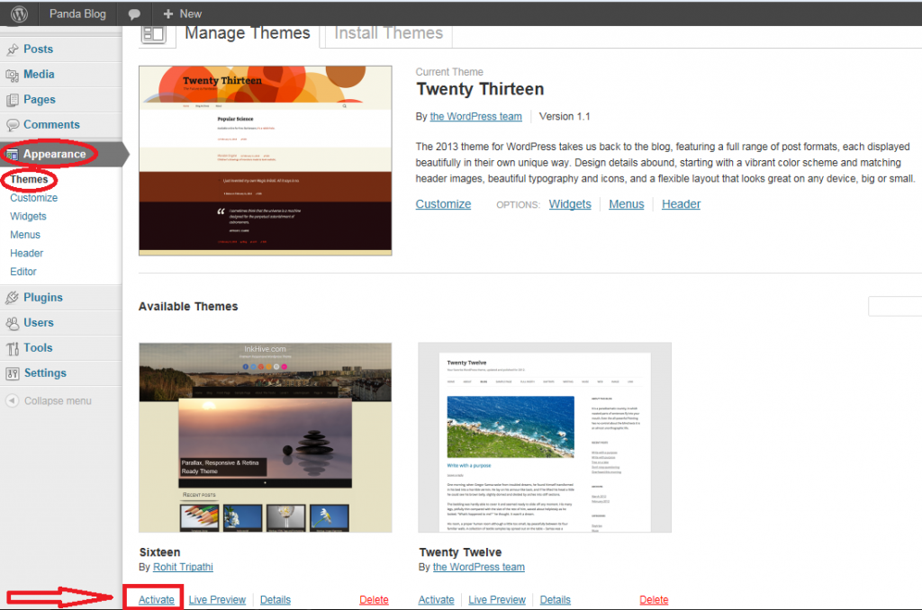 Manage Themes page