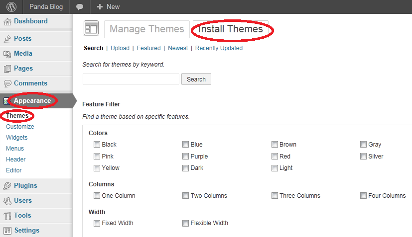 Selecting a theme