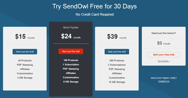 SendOwl pricing